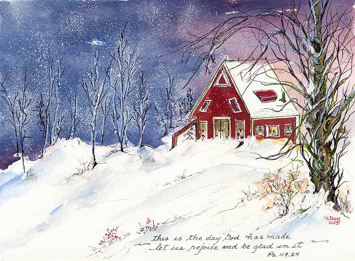 Red House In The Snow Art By Cynthia Day Sober Artist